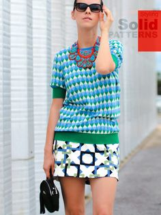 Solid Patterns ( Knitwear Sweaters & Graphic Skirts )