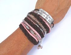 Women's Leather BOHO WRAP BRACELET Stamped She Believed She Could Beaded Wrap Bracelet Braided Leather Wrap Boho Bracelet Motivational