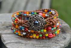 Colorful Wrap Bracelet, 3xWrap, Multicolor Wrap, Multigems, Beads On Leather, One Of A Kind, Leather Wrap, Wrap Around, Jewelry By Yevga. by JewelryByYevga on Etsy https://www.etsy.com/listing/251290987/colorful-wrap-bracelet-3xwrap-multicolor