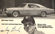 Mickey Loilich Detroit Tiger Baseball 1969 Dodge Charger Advertising Postcard