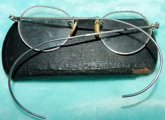 Old Wire Arm Spectacles with Case by PeggysVintageVariety on Etsy