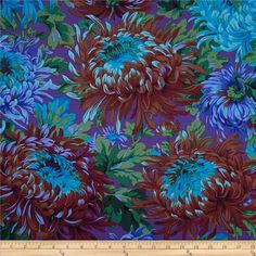 Kaffe Fassett Shaggy Blue from @fabricdotcom  Designed by Philip Jacobs for Westminster, this cotton print fabric is perfect for quilting, apparel and home decor accents. Colors include black, red, purple, shades of green, shades of brown, and shades of blue.
