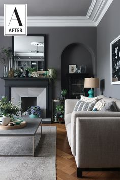 Before & After: This Living Room Goes From Chintzy '70s Dreamland to Dark, Cozy and Contemporary
