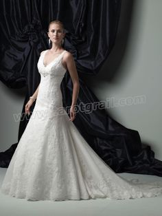 Allover V-Neckline covered buttons down Back Bodice A-line Wedding Dress