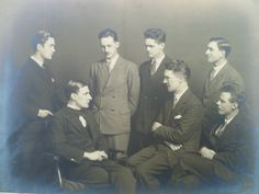 Photograph of Ancell Stronach (bottom left) believed to be with his contemporaries from the Glasgow School of Art Glasgow School Of Art, Mural Painting, Dundee, Photograph, Portrait, Photography, Wall Mural, Photographs, Portrait Illustration