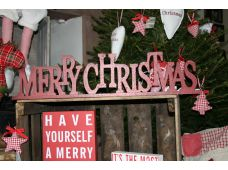 "Vintage/Shabby Chic Large Freestanding ""Merry Christmas "" Sign"