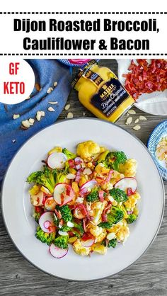 Dijon Roasted Broccoli, Cauliflower & Bacon: Perfect for Keto #dijon #bacon #broccoli #ketorecipes #keto #cauliflower #panroasted #MyMaille #ad