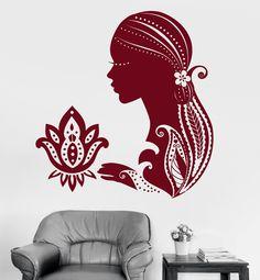 Vinyl Wall Decal Lotus Beautiful Girl Meditation Relax Yoga Stickers (711ig)