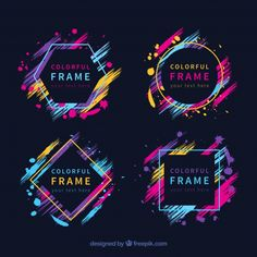 Colorful frame collection with geometric shapes Free Vector Web Design, Layout Design, Creative Design, Design Art, Logo Design, Shape Design, Banner Design Inspiration, Colorful Frames, Vintage Design