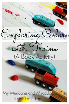 Freight Train: Exploring Colors with Trains. Your preschool, pre-k, or kindergarten kids will love exploring colors as they paint with trains! A perfect companion activity after you read the classic book Freight Train by Donald Crews. - Pre-K Pages Transportation Activities, Train Activities, Kids Learning Activities, Color Activities, Preschool Activities, Steam Activities, Alphabet Activities, Preschool At Home, Preschool Books