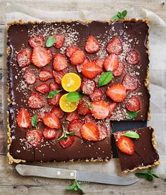 eggless bittersweet chocolate tart with oranges and strawberries.