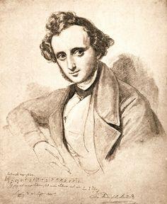 Felix Mendelssohn-Bartholdy (1809-47), composer, by William Hensel, 1840