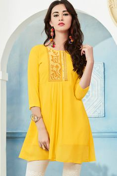 Yellow Top Style Georgette Kurti With Embroidary Work Juelle Vol 2 Kessi Fabrics Catalog 9408