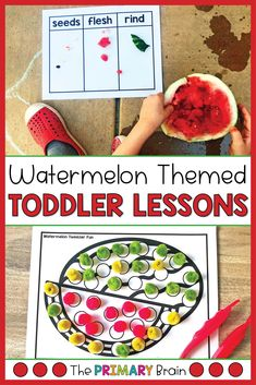 Watermelon toddler activities are perfect for toddler summer fun! These watermelon themed toddler lesson plans include everything you need for a week of toddler crafts, toddler sensory bins, fine motor skills, gross motor activities, and toddler math activities. Have fun with your 2 to 3 year old child as you explore watermelons through engaging toddler curriculum. Gross Motor Activities, Language Activities, Literacy Activities, Preschool Activities, Winter Activities, Lesson Plans For Toddlers, Preschool Lesson Plans, Toddler Sensory Bins, Toddler Crafts