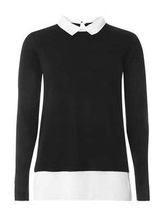 f76d6656efe648 Black Knitted 2-In-1 Jumper Winter Cardigan