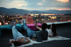 Posted because rooftop sky/city-gazing (but makes me think that someone brought a boyfriend home and the other one is not impressed haha)