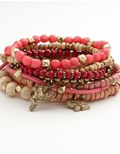 Mudd Two Tone Bead & Charm Stretch Bracelet Set