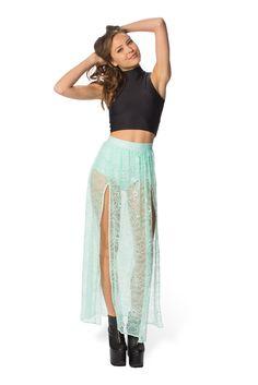 STORE - Mint Split Skirt - LIMITED (WW $80AUD / US $64USD) by Black Milk Clothing