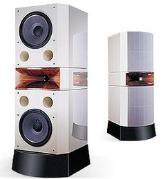 """Usher Audio D2                                   Dual 15"""" bass drivers and a wooden horn with a beryllium tweeter. Sensitivity is 98dB and freq is 28Hz to 20kHz."""