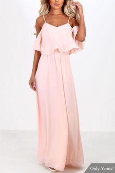 Розовый Off-плечу Frill Top шифон Макси платье