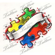 Autism Awareness Puzzle Pieces with Banner