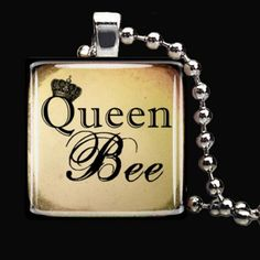 "The perfect gift for your Queen Bee ;) What a Beautiful gift for Mother's Day?! Let her know she's your Queen Bee! This is a beautiful handmade 1"" glass tile pendant necklace made by Kandy Smith."