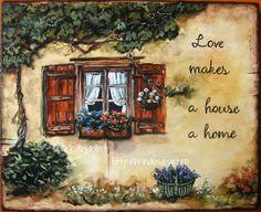 """Brîndușa Art """"Love makes a house a home."""" Painted wall plaque, acrylics on wood – 11.8 x 9.6 inches (30 x 24.5 cm).  House with  wooden shutters and flowers in the windows...  """"Dragostea face dintr-o casă un cămin."""" Pictură pe lemn în culori acrilice – 30 x 24,5 cm. Căsuţă cu obloane de lemn, cu flori în fereastră... #home #house #casa #love #cozy #acrylics #woodpainting #picturapelemn #rustic #country #shutters"""