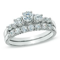 1 CT. T.W. Diamond Three Stone Bridal Set in 14K White Gold - View All Rings - Zales