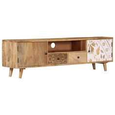 Material: Solid mango woodDimensions: 140 x 30 x 40 cm (W x D x H)Finish: Polished, painted and lacqueredWith 2 doorsWith 2 drawers and 1 compartment Glass Furniture, Living Room Furniture, Tree Furniture, Luxury Furniture, Stereo Cabinet, Cabinet Doors, Entertainment Center Furniture, Fabric Storage Ottoman, Into The Woods