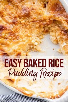 Baked Rice Pudding is rich, creamy, and the perfect simple dessert. Baking the rice pudding produces a thick pudding like rice with a gorgeous thick custard like skin top. The skin is the best part!! Made with short grain Italian Arborio Rice or Pudding Rice the texture is perfect!! #bakedricepudding #ricepuddingrecipe #englishricepudding #britishricepudding Rice Desserts, Easy Desserts, Italian Desserts, Arborio Rice Pudding, Rice Pudding Recipes, Rice Puddings, Biscotti, Flan, Old Fashioned Rice Pudding