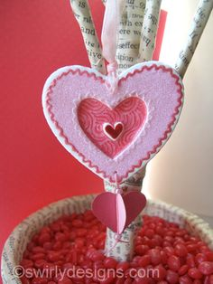 Swirly Designs by Lianne & Paul  Our Valentine's handmade polymer clay ornaments  www.swirlydesigns.com