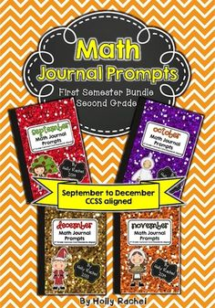 Grab this fantastic bundle of four months worth of daily Math journal prompts. Included are the months of September, October, November and December, covering themes including apples, farms, Halloween, Thanksgiving and Christmas. There are daily prompts to cover the entire first semester. Buy four months together and save 25%.