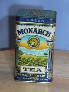 Monarch Tea Tin  Can  Reid Murdoch & Co  Green Tea  by MasterGreig,