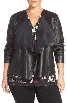 Sejour Drape Collar Leather Jacket (Plus Size)  A soft ribbed knit lines the face-framing draped collar to bring tactile contrast to a sleek leather jacket in your choice of versatile black or brown.   affiliate link