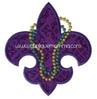 Beaded Fleur De Lis Applique Design