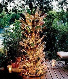 bottle tree.... I absolutely love this! Could be a party game!
