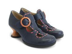 Fluevog Shoes   Shop   Enthusiast (Navy & Orange)   Vintage style t-strap…