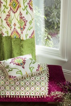 Sumatra is a family of colourful fabrics, with embroidered Jacobean trails, mini-mosaics and Ikat-style damasks, complemented by opulent embossed velvets and prints, in jewel-bright shades. Prestigious Textiles, Pencil Pleat, Made To Measure Curtains, Curtain Fabric, Modern Prints, Deco, Textile Design, Vibrant Colors, Upholstery