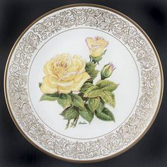 Vintage Boehm Studio Rose Plate-The Peace Rose by RennerLaDifference on Etsy