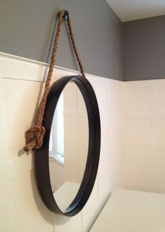 DIY Restoration Hardware Knock Off Iron & Rope Mirror
