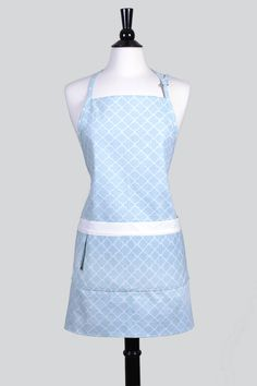 Womens Kitchen Apron Blue Geometric Cotton Canvas With Pockets Adjustable  Neck Ties   TastyAprons