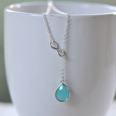 Turquoise Teadrop and Silver Infinity Lariat by RusticGem on Etsy, $32.00