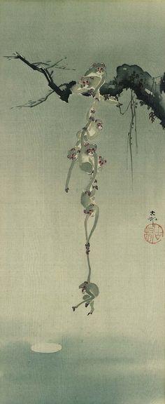 Monkeys reaching for the Moon. Meiji era.  Art by Ohara Koson.(1878-1945).