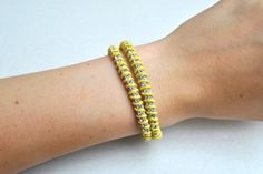 Rhinestone & suede wrap bracelet