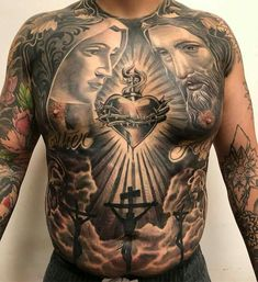 To show your faith sacred heart tattoo would be the best option for you.Take a look on designs of sacred heart tattoos in our tattoo gallery. Neck Tattoo For Guys, Hand Tattoos For Guys, Leg Tattoo Men, Religious Tattoos For Men, Catholic Tattoos, Torso Tattoos, Best Sleeve Tattoos, Neck Tattoos, Forearm Tattoos