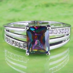 Silver Simulated Mystic Topaz Cocktail Ring Rhodium Plated Princess Cut Size 12 #Unbranded #SolitairewithAccents