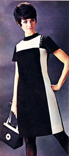 Vintage Dresses black and white mini 1960s Mod Fashion, Sixties Fashion, 60 Fashion, Retro Fashion, Vintage Fashion, 1960s Outfits, Vintage Dresses 1960s, Vintage Outfits, Style Année 60