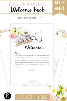 Free printable welcome pack! Download now and get 4 beautiful free printables, wall art poster and pink and gold website button kit. Amazing free gift ready for you to instantly download now!