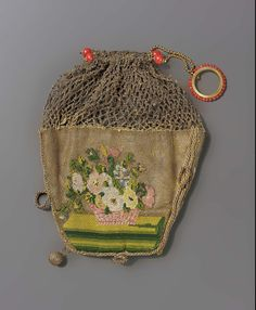 1830-1850, Central or Western Europe - Bag - Silk; Needlepoint