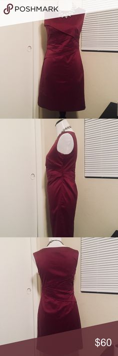 Ann Taylor - 4P Sheath Dress - Sleeveless Burgundy Sleeveless dress with adorable fabric fold accents. Size 4P — a cross between  maroon and burgundy, this dress is a show stopper! Ann Taylor Dresses Midi
